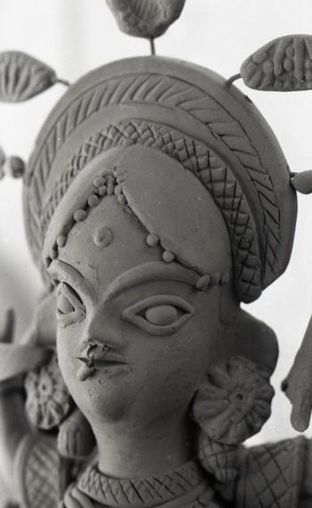Detailed View of a Terracotta Sculpture at Fine Arts Fair, 1968