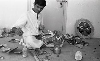 Govardhan Singh Panwar Painting Masks for the Fine Arts Fair, 1969