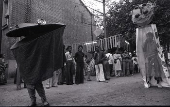Carnivalesque Figure Performing at the Fine Arts Fair, 1983