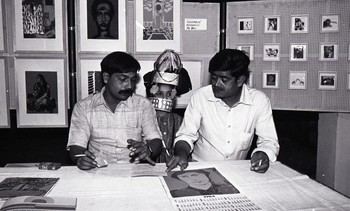 Dhruv Mistry and Vinod S. Patel at the Fine Arts Fair, 1983