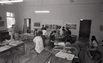 Photograph of Carol Summers' Workshop in the Department of Graphics