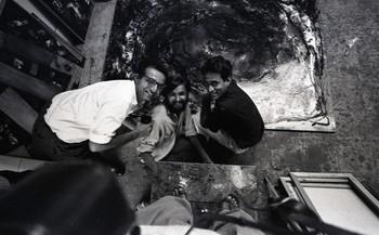 Photograph of Feroze Katpitia, Raghav Kaneria and Jeram Patel in the Department of Painting