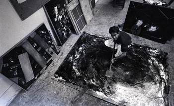 Photograph of Jeram Patel in the Department of Painting