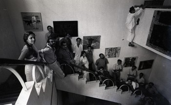 Group Photograph of Artists with Their Works in the Library Building