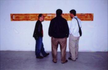 Zeng Xiaojun, Ai Weiwei, and A Friend at 'Fuck Off'