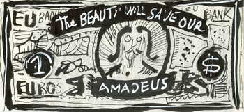 1 Euro Bill from the Money from Amadeus Series