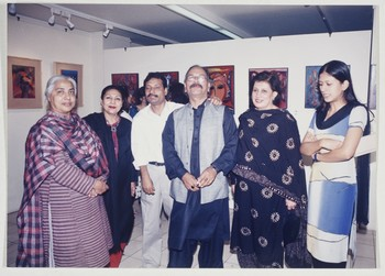 Group Photograph Taken at Wahab Jaffer's Painting Exhibition at Indus Gallery