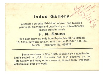Search indus gallery asia art archive invitation card to a surprise exhibition of francis newton souza at indus gallery stopboris Choice Image