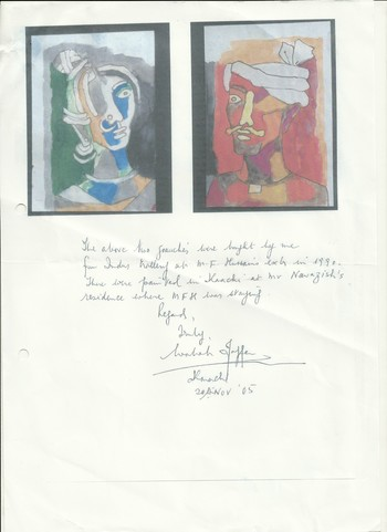 Letter of Authenticity for Paintings by M.F. Husain, 20 November 2005