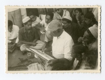 Prof. Bendre giving Painting demonstration in Badami (c.1954)