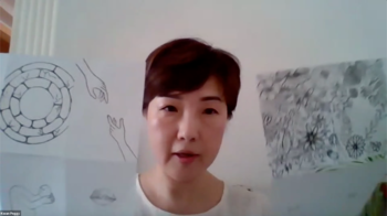 "Image: Visual art teacher Peggy Kwan sharing her experience of implementing materials from Artist Exercises into her teaching in an online sharing session ""Teaching Labs 