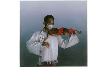 Nortse, Father's Violin – 1, 2007, mixed media on canvas