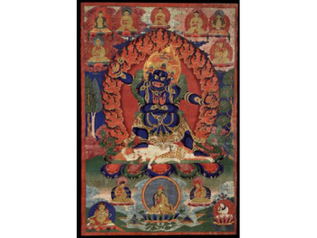 ajrapani – Bhutadamara, Tibet, 1700 - 1799 , 69.22 x 46.36 cm, ground mineral pigment, fine gold line on cotton, collection of Rubin Museum of Art
