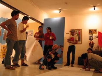 Artists installing works, Third Eye Studio