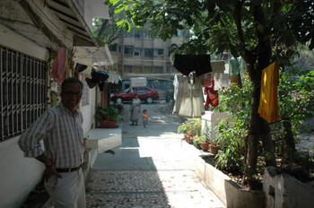 Atul Dodiya standing outside his studio