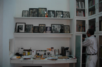 Desk and Library in Atul Dodiya's Studio