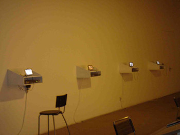 A presentation of various video artworks in BizArt in Shanghai