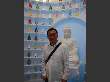 Zhan Wang with his work Buddhist Pharmacy