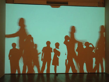 Shot of Interactive Video Projection by Shilpa Gupta