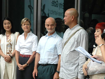Sun Hee Kim, Jane DeBevoise, Uli Sigg, Ye ongqing and Victoria Lu at the opening of MOCA Envisage