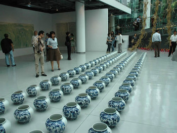 Exhibition shot of MoCA Shangai Envisage with Ai Weiwei's work in the foreground
