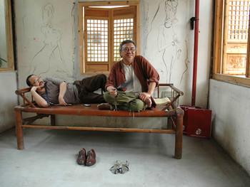 Yu Peng with his work in Qingpu