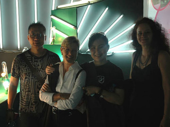 Zhang Jianjun, Jane DeBevoise, Cao Fei and Barbara Edelstein at the CAAW awards Exhibition