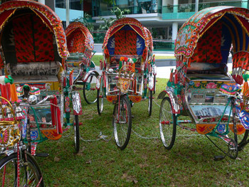 Bicycle rickshaws at the Biennale Information Center