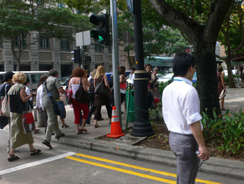 Singapore Biennale visitors walking to Religious Exhibition Sites in the Waterloo Area