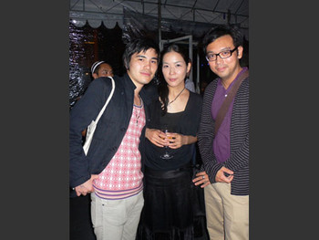 Andrew Maerkle, Atsuko Ninagawa and Ho Tzu Nyen at the opening night of Singapore Biennale 2006