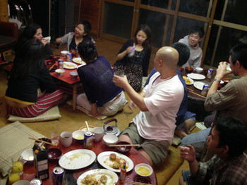 Dinner Time of the Summer Seminar at Kashiyo Iizuna Sanso, Lizuna Height, Nagano