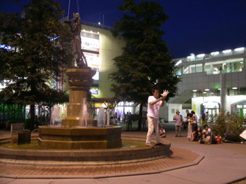 Performance by Htein_Lin (Myanmar) outside Nagano Station