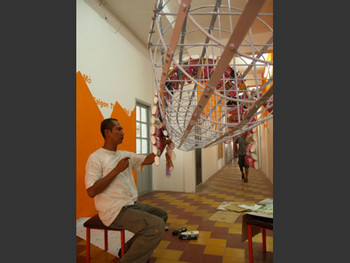 Nidityo Adipurnomo, installing his work