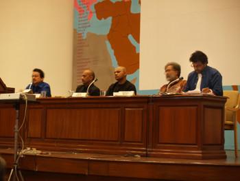 Ranjit Hoskote, Quddus Mirza, Girish Shahane, Ashish Rajadhyaksha and Shaheen Merali