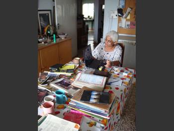 Head of the Fine Arts Department, Karachi University and Artist Duriya Kazi in her studio.