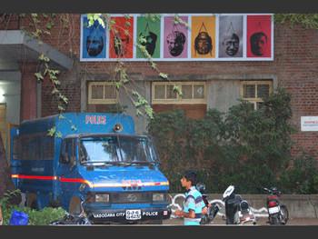 An obtrusive police van.