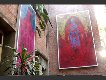 More works by Chandramohan displayed outside the Graphics Department.