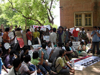 Student protestors with posters and banners.