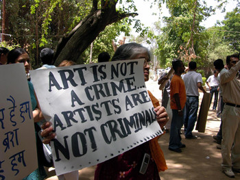 Students are joined by artists and activists.