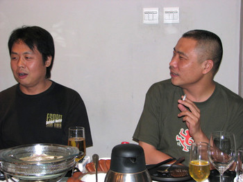 Song Yonghong and Wang Youshen at dinner.