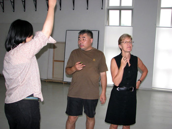 Song Yongping's studio: Phoebe, Song Yongping and Jane Debevoise