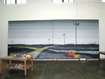 Zhang Xiaogang's studio: work in progress.