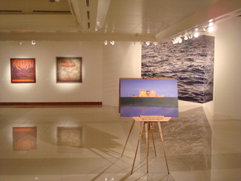 Works by Risham Syed (foreground),