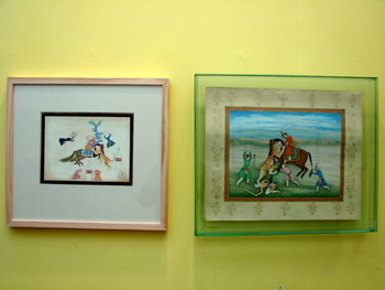 Works by Saira Waseem (left) and Haji Mohummad Sharif (right).