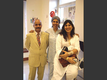 "Quddus Mirza, Sameera Raja and Nosheen Saeed at the ""Love"" exhibit."