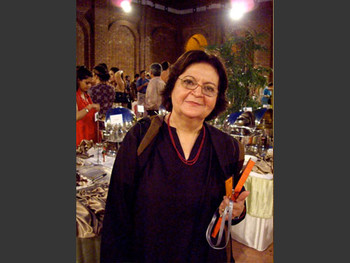 Salima Hashmi at the opening reception.