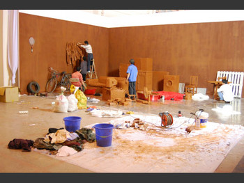 Work in progress on an installation by Chen Zhen, Galleria Continua,