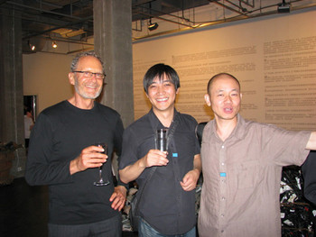 (L-R) Max Protetch and Leng Lin in conversation with artist Liu Jianhua at the opening of his solo