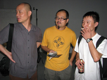 (L-R) Artists: Liu Jianhua, Shi Qing and Huang Kui in conversation at ShanghArt F space.