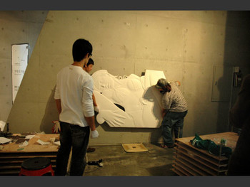 """Installation of exhibition """"Come to My Penthouse"""" in progress at Loop."""